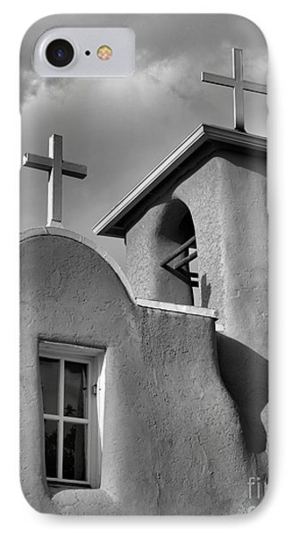 Two Crosses At San Francisco De Asis Mission Church In Black And White IPhone Case by Nadalyn Larsen