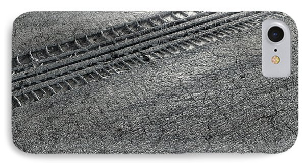 Tyre Track In The Ground IPhone Case by Allan Swart