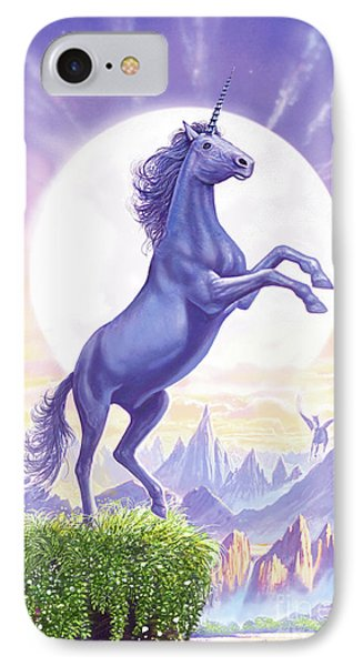 Unicorn Moon Ravens IPhone Case by Steve Crisp