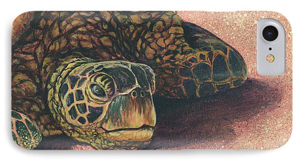 IPhone Case featuring the painting Honu At Rest by Darice Machel McGuire