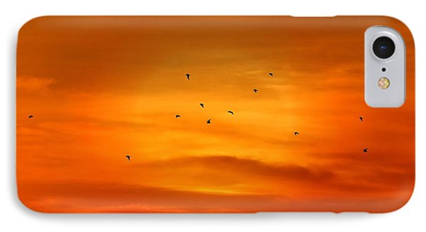 Upon A Sunset Flight IPhone Case by Angie Tirado