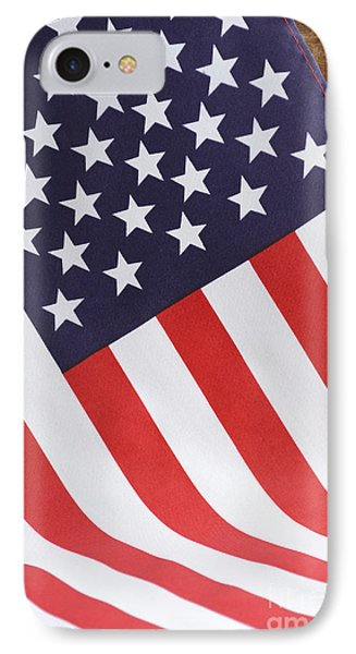 Usa Stars And Stripes Flag On Dark Wood IPhone Case by Milleflore Images
