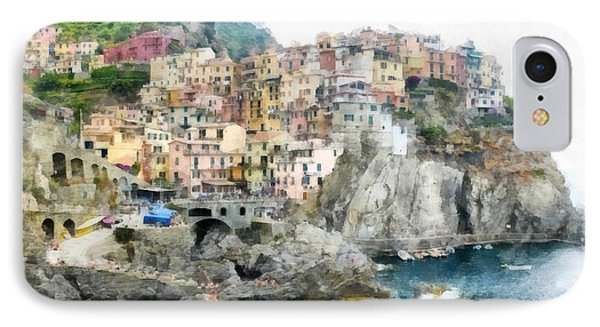 Manarola Italy In The Cinque Terra IPhone Case by Edward Fielding