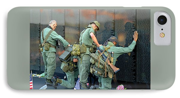 IPhone Case featuring the photograph Veterans At Vietnam Wall by Carolyn Marshall
