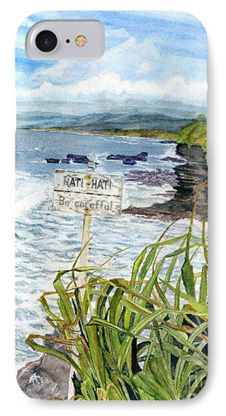 IPhone Case featuring the painting View From Tanah Lot Bali Indonesia by Melly Terpening