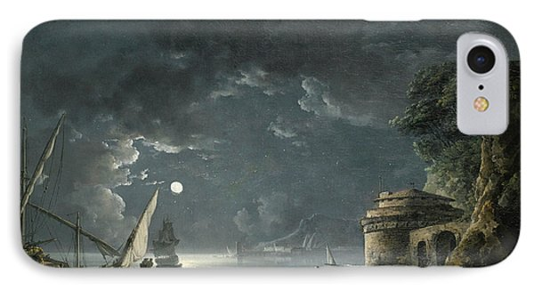 IPhone Case featuring the painting View Of A Moonlit Mediterranean Harbor by Carlo Bonavia