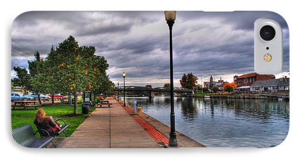 View Of Delaware Bridge At Erie Canal Harbor IPhone Case by Michael Frank Jr