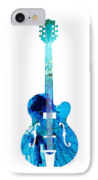 Vintage Guitar 2 - Colorful Abstract Musical Instrument IPhone Case by Sharon Cummings