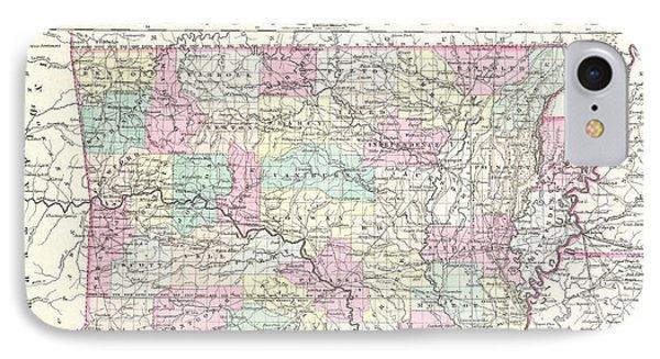 Vintage Map Of Arkansas  IPhone Case