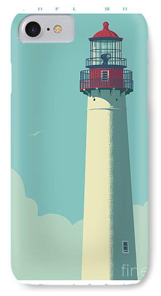 Vintage Style Cape May Lighthouse Travel Poster IPhone Case