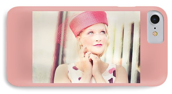 Vintage Val The Coral Hat IPhone Case by Jill Wellington