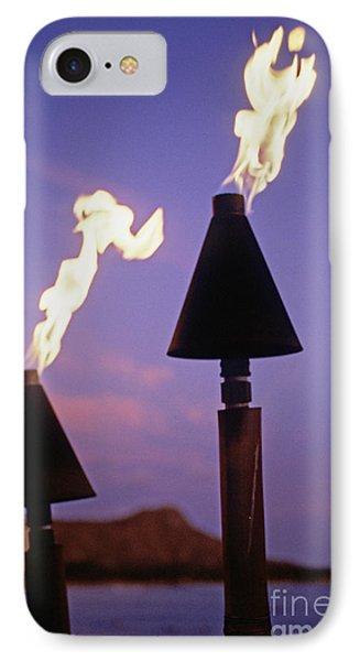 Waikiki, Tiki Torches Phone Case by Carl Shaneff - Printscapes