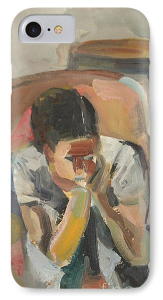 IPhone Case featuring the painting Wait Child by Daun Soden-Greene