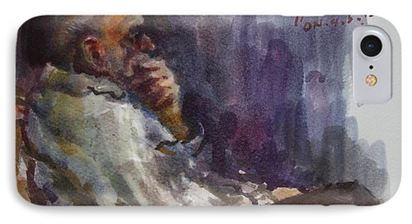 Man Watching Tv  IPhone Case by Ylli Haruni