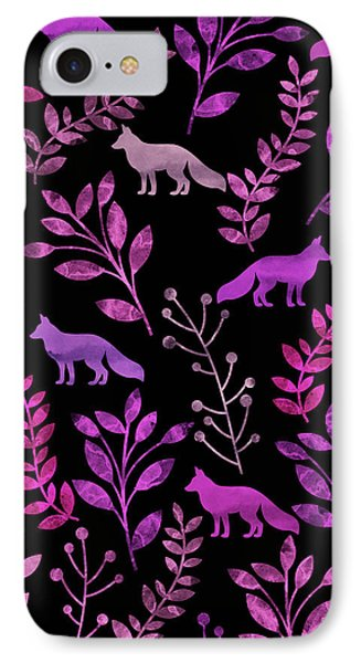 Watercolor Floral And Fox IPhone Case by Amir Faysal