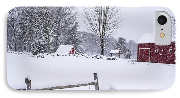 Wayside Inn Grist Mill Covered In Snow Storm IPhone Case