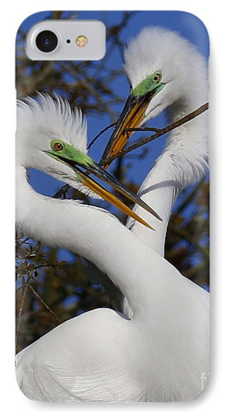 White Egrets Working Together IPhone Case by Myrna Bradshaw