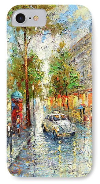 IPhone Case featuring the painting White Taxi by Dmitry Spiros