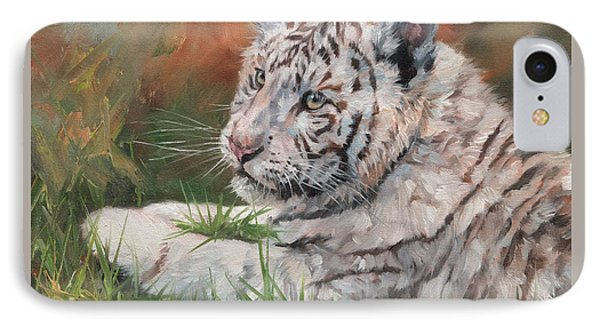 White Tiger Cub IPhone Case by David Stribbling