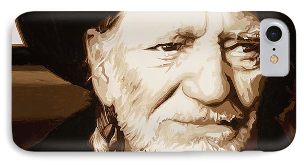 IPhone Case featuring the painting Willie Nelson by Ashley Price