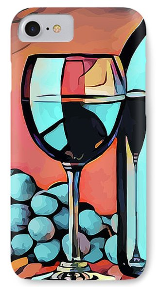 Wine Glass Bottle And Grapes Abstract Pop Art IPhone Case