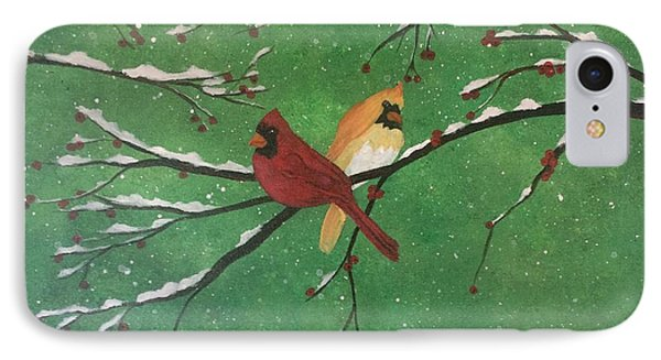 IPhone Case featuring the painting Winter Cardinals by Denise Tomasura