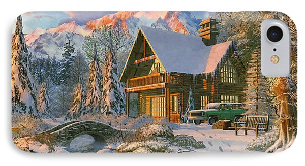 Winter Holiday Cabin IPhone Case