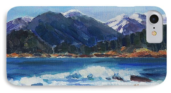IPhone Case featuring the painting Winter Mountains Alaska by Yulia Kazansky