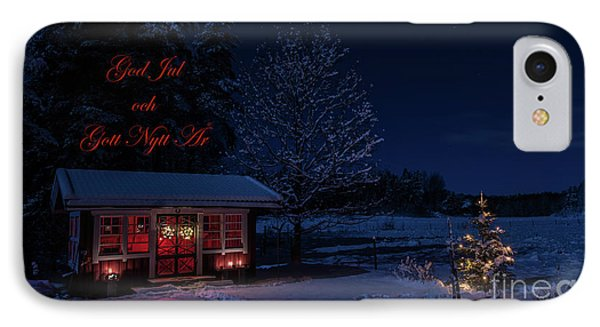IPhone Case featuring the photograph Winter Night Greetings In Swedish by Torbjorn Swenelius