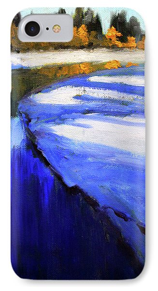 IPhone 7 Case featuring the painting Winter River by Nancy Merkle