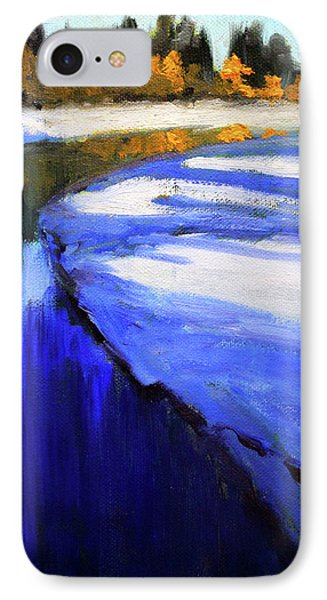 IPhone Case featuring the painting Winter River by Nancy Merkle