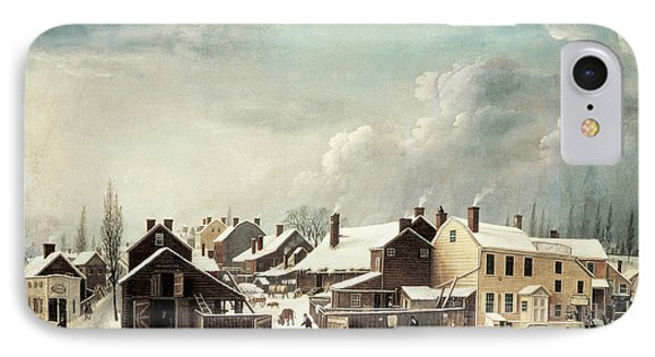 Winter Scene In Brooklyn IPhone Case by Francis Guy