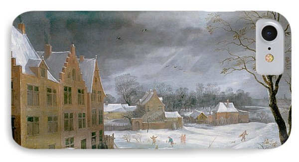 Winter Scene With A Man Killing A Pig IPhone Case