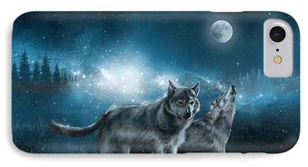 Wolf In The Moonlight IPhone Case by Bekim Art