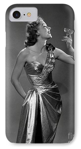 Woman In Metallic Dress, C.1950s IPhone Case by Debrocke/ClassicStock