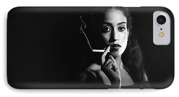 Woman Smoking IPhone Case by Amanda Elwell
