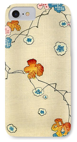Woodblock Print Of Fall Leaves IPhone Case by Japanese School