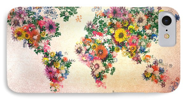 World Map Floral 9 IPhone Case by Bekim Art