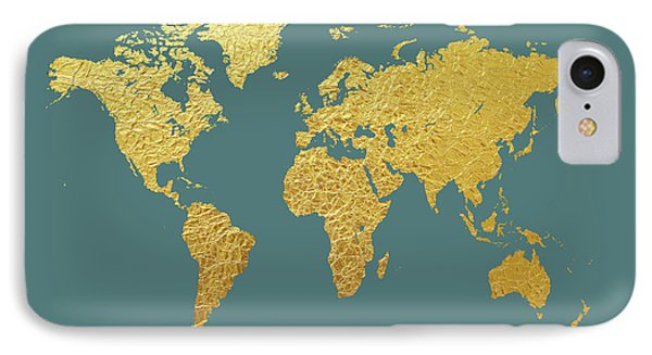 World Map Gold Foil IPhone Case by Michael Tompsett