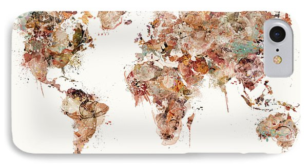 IPhone Case featuring the painting World Map Watercolors by Bri B