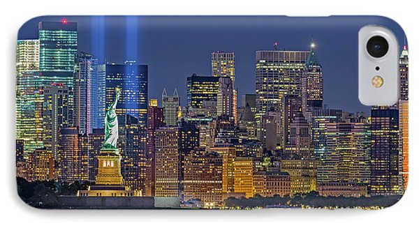 IPhone Case featuring the photograph World Trade Center Wtc Tribute In Light Memorial II by Susan Candelario