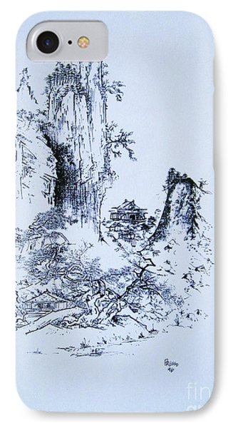 IPhone Case featuring the painting Yama No Fukei by Roberto Prusso
