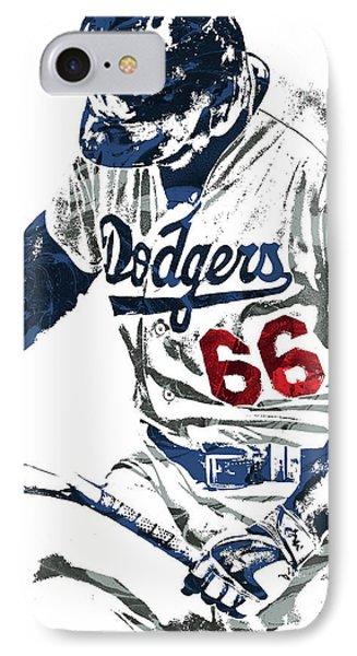 Yasiel Puig Los Angeles Dodgers Pixel Art IPhone Case by Joe Hamilton