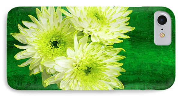 Yellow Chrysanthemums On A Green Background. Phone Case by Paul Cullen