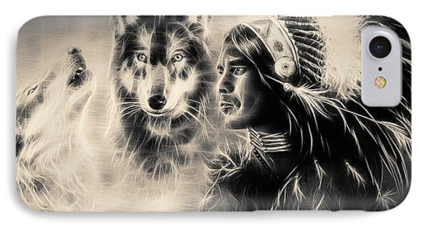 Young Indian Warrior Accompanied With Two Wolves IPhone Case by Jozef Klopacka