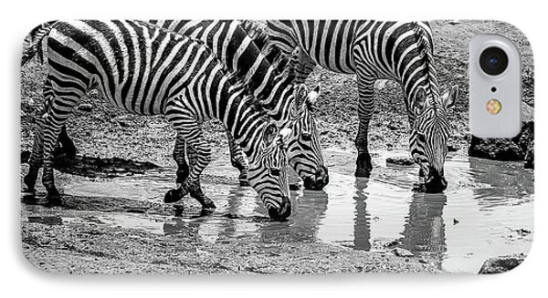 IPhone Case featuring the photograph Zebras At The Watering Hole by Marion McCristall