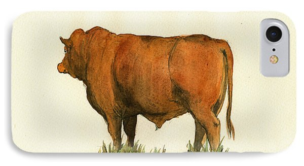 Zebu Cattle Art Painting IPhone 7 Case by Juan  Bosco