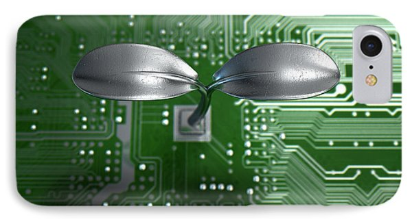 Macro Circuit Board With Futuristic Plant IPhone Case by Allan Swart