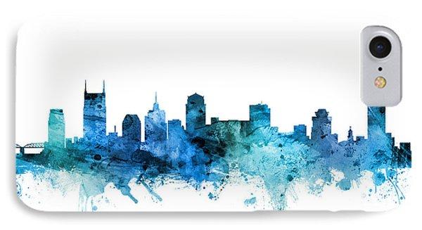 Nashville Skyline iPhone 7 Case - Nashville Tennessee Skyline by Michael Tompsett