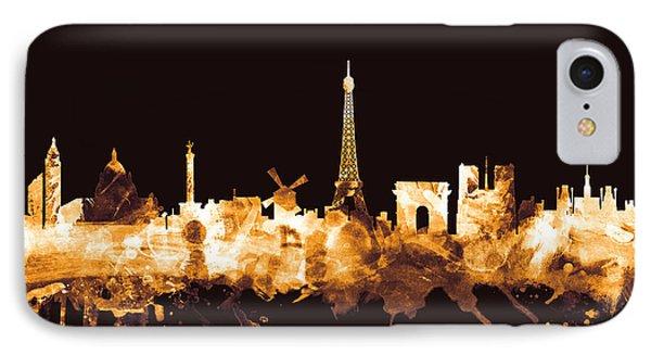 Paris France Skyline IPhone Case by Michael Tompsett